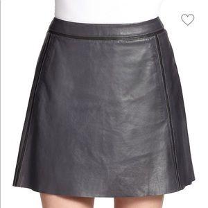 Vince Paneled Leather Skirt Grey Size 4